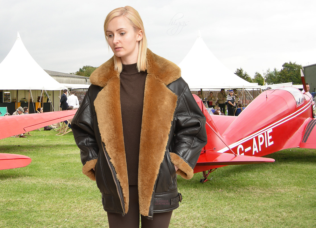 Higgs Leathers {ONE ONLY SAVE £250!}  Earhart (heavy quality SheepskinFlying jacket) ALL SOLD!